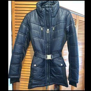 Michael Kors Black Down Puffer Coat Leopard Print
